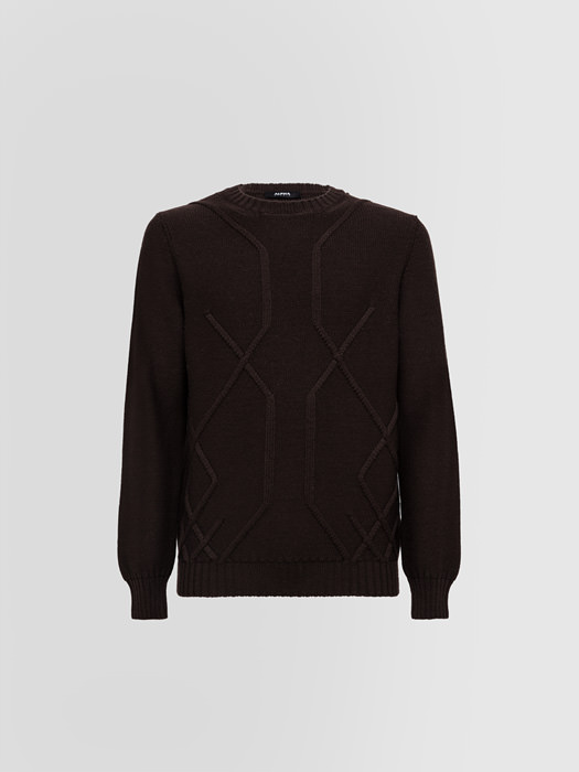 ALPHA STUDIO: ARAN?CREW NECK IN WOOL