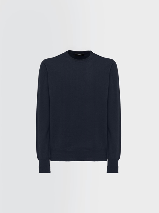 ALPHA STUDIO BASIC REGULAR CREW NECK IN WOOL