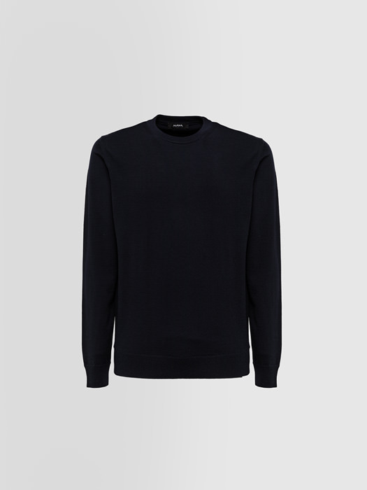 ALPHA STUDIO BASIC SLIM CREW NECK IN WOOL