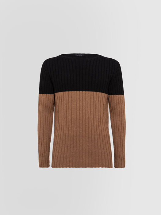 ALPHA STUDIO BLOCK VANISE CREW NECK IN WOOL