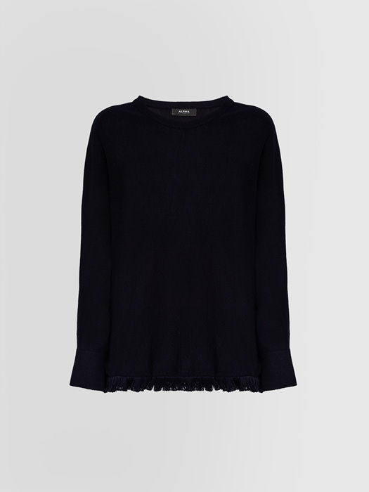 ALPHA STUDIO: CONTEMPORARY CREW NECK SWEATER IN WOOL