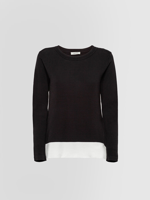 ALPHA STUDIO CONTRAST CREW NECK IN VISCOSE