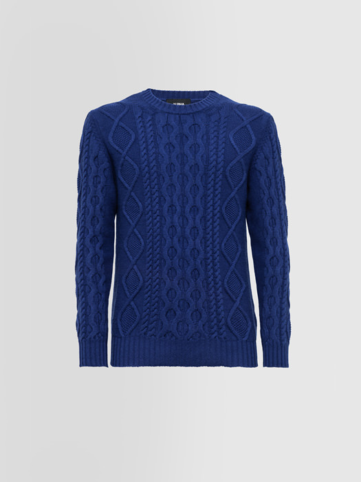 ALPHA STUDIO FISHERMAN SPECIAL CREW NECK SWEATER IN WOOL AND CASHMERE