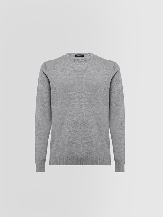 ALPHA STUDIO CREW NECK IN COTTON AND WOOL