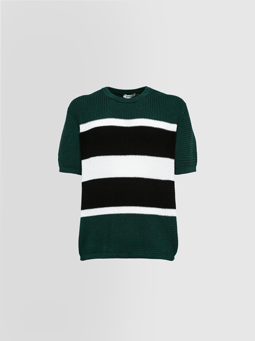 ALPHA STUDIO: CREW NECK IN STRIPED COTTON