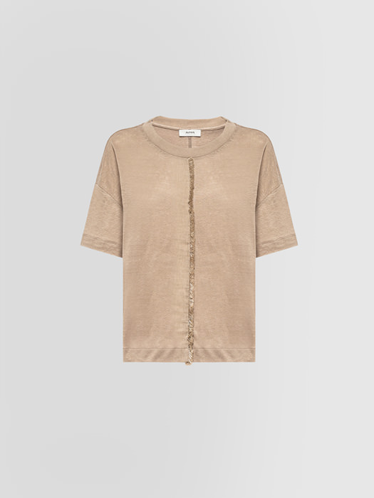 ALPHA STUDIO CREW NECK IN LINEN WITH FRINGES