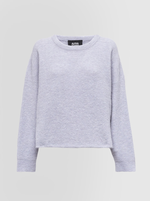 ALPHA STUDIO CREW NECK SWEATER IN MOHAIR AND WOOL