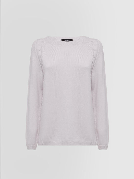 ALPHA STUDIO INFORMAL CREW NECK IN WOOL