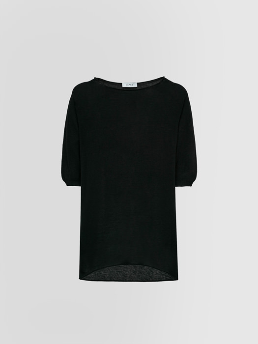 ALPHA STUDIO: CREW NECK SWEATER IN CREPE