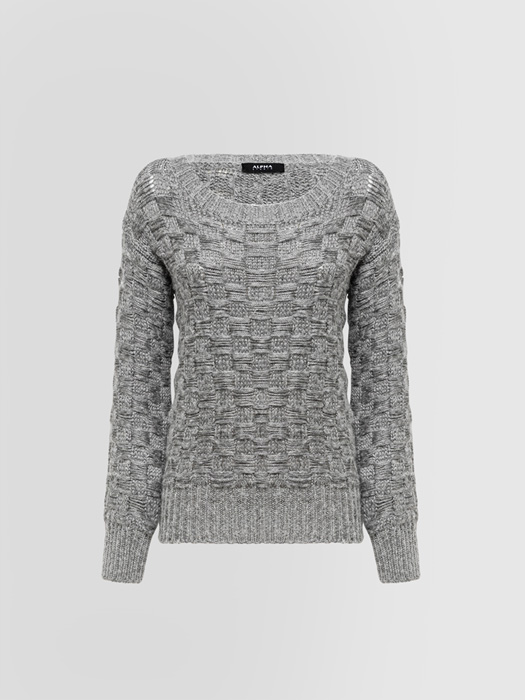 ALPHA STUDIO: BRAIDED CREW NECK SWEATER IN MIXED WOOL