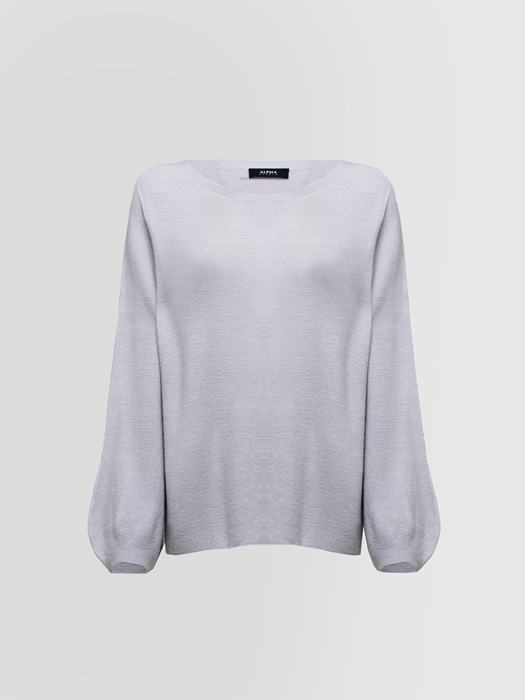 ALPHA STUDIO CREW NECK SWEATER IN LINKS STITCH WOOL