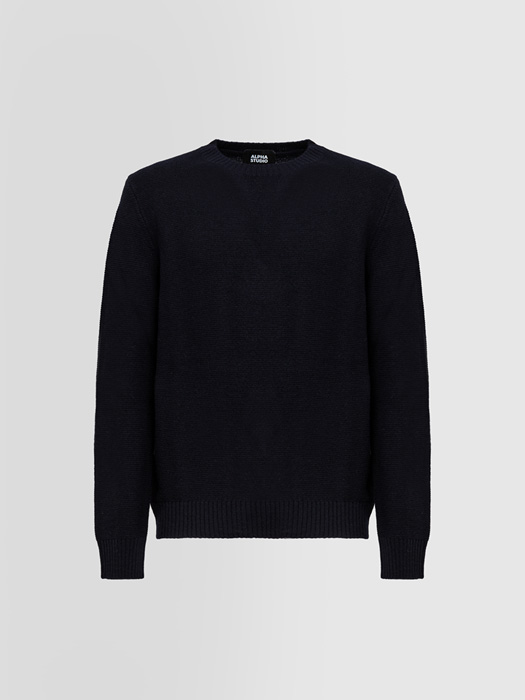 ALPHA STUDIO LINKS STITCH CREW NECK SWEATER IN WOOL AND CASHMERE