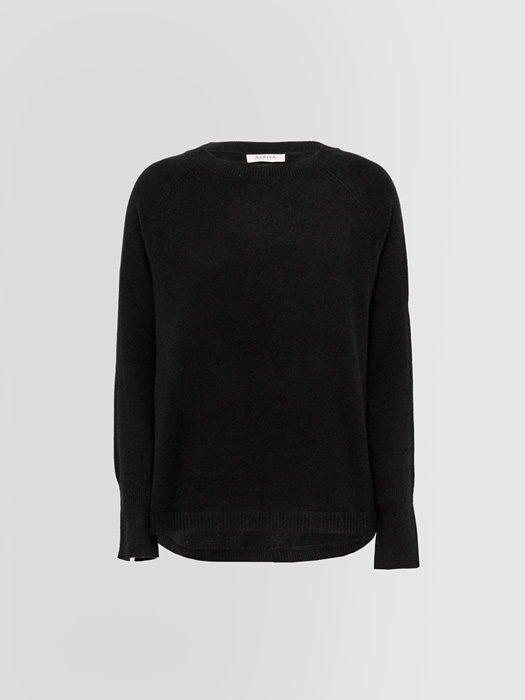 ALPHA STUDIO LUXURY LABEL CREW NECK SWEATER WITH BUTTONS