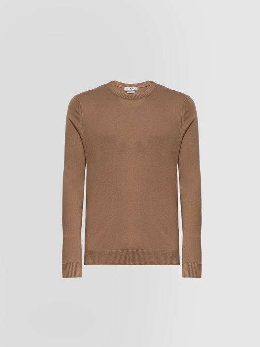 ALPHA STUDIO: LUXURY LABEL CREW NECK IN SILK AND EXTRA-FINE CASHMERE