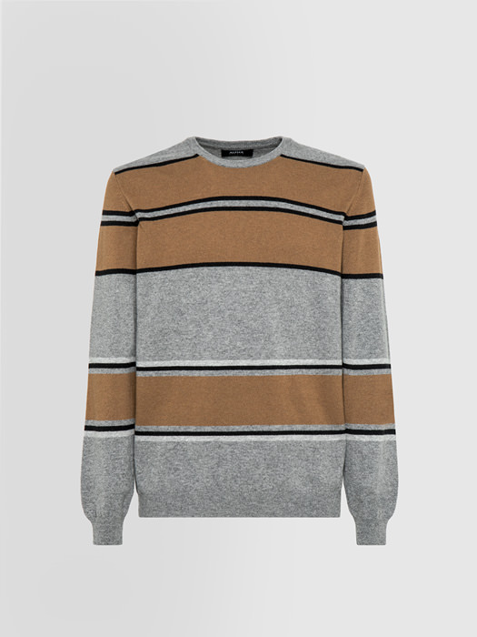 ALPHA STUDIO BLOCK STRIPE CREW NECK IN MIXED WOOL