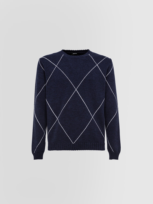 ALPHA STUDIO MOULINE CREW NECK IN WOOL AND CASHMERE