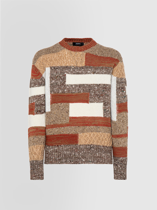 ALPHA STUDIO MULTI-THREAD PATCH CREW NECK IN MIXED WOOL