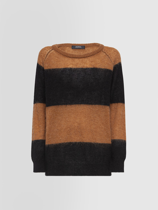 ALPHA STUDIO STRIPES BRUSHED CREW NECK SWEATER IN MOHAIR