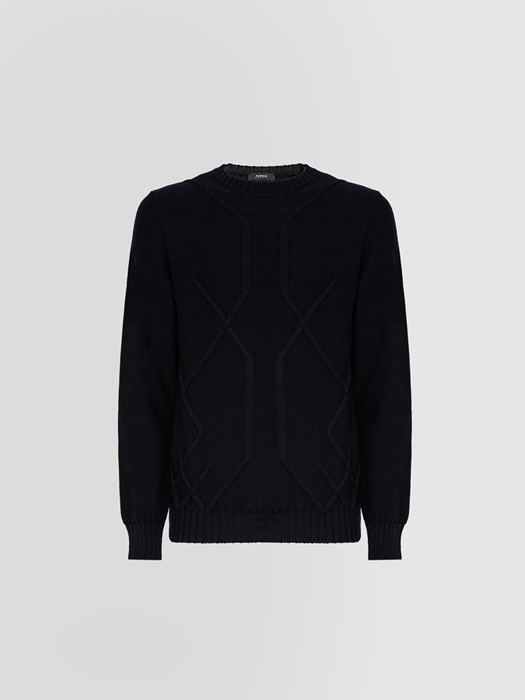 ALPHA STUDIO: ARAN CREW NECK IN WOOL