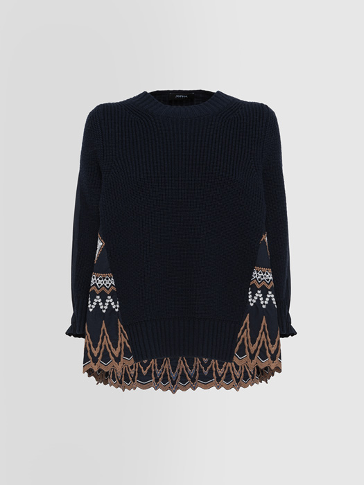 ALPHA STUDIO PRINCE OF WALES KNIT + WOVEN CREW NECK SWEATER