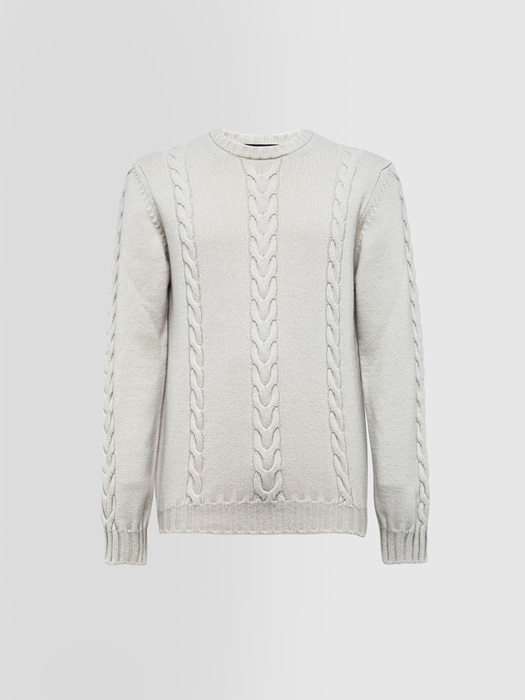 ALPHA STUDIO BRAID CABLE STITCH SPECIAL CREW NECK SWEATER IN WOOL AND CASHMERE