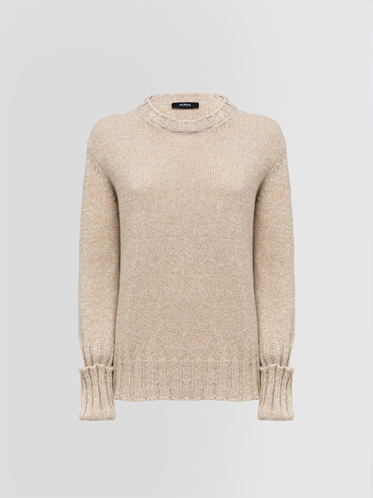 ALPHA STUDIO THE BRIGHT CREW NECK SWEATER IN CASHMERE