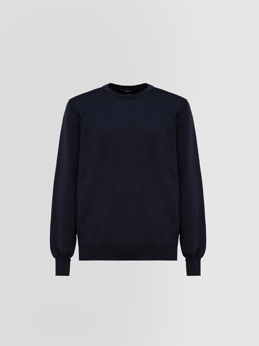 ALPHA STUDIO TOPPE BASIC REGULAR CREW NECK IN WOOL