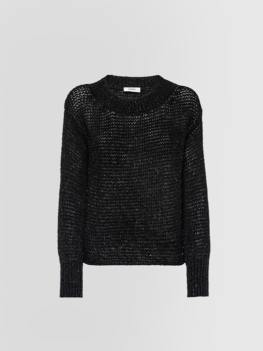 ALPHA STUDIO HIGHLIGHT CABLE KNIT CREW NECK