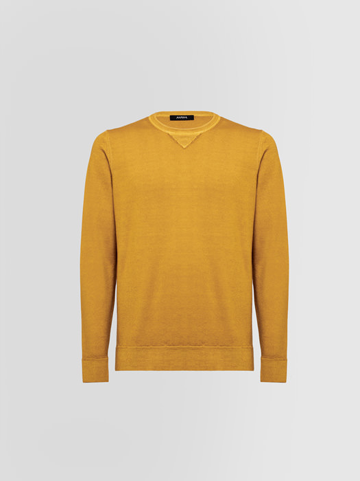 ALPHA STUDIO BASIC SLIM DYE SWEATSHIRT IN WOOL