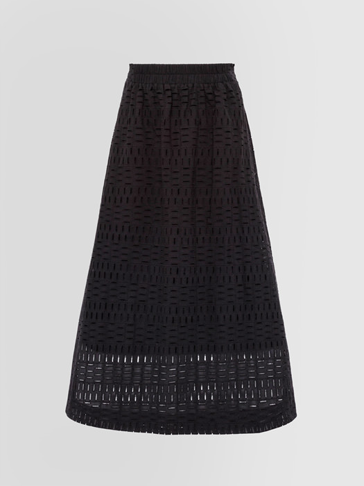 ALPHA STUDIO BRODERIE ANGLAISE GEOMETRY PATTERN LONG SKIRT