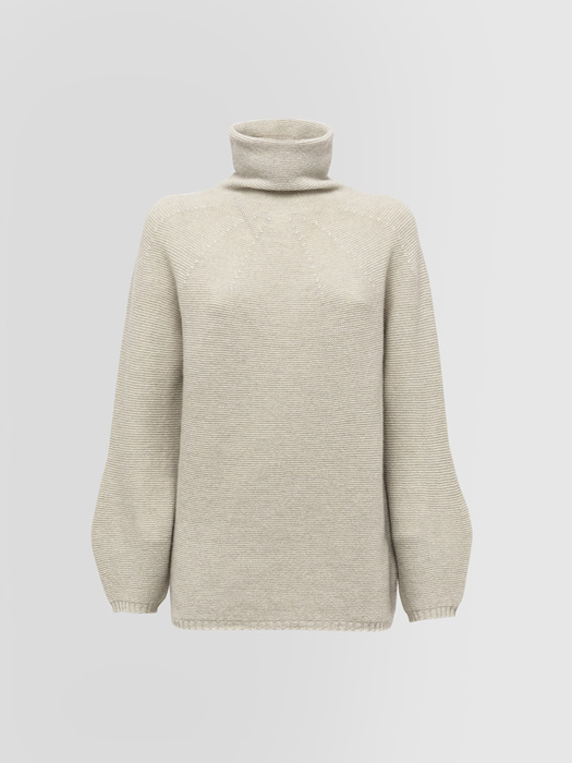 ALPHA STUDIO SOFT LINK GRANDAD NECK INTEGRAL SWEATER IN WOOL