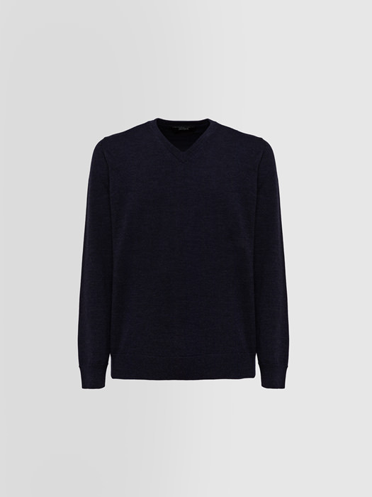 ALPHA STUDIO BASIC SLIM SWEATER IN WOOL