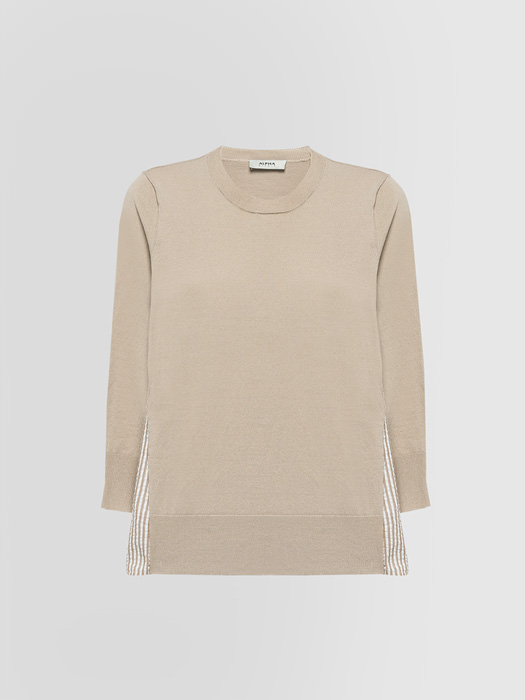 ALPHA STUDIO SHIRT SWEATER IN CREPE