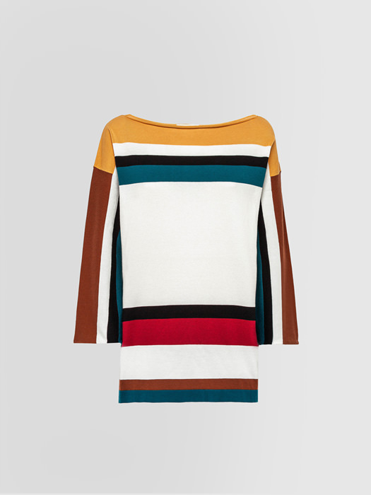 ALPHA STUDIO MAGLIA COLLO A BARCA COLOR BLOCKING