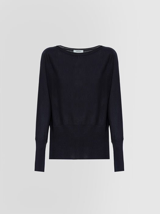 ALPHA STUDIO: BOAT NECK SWEATER IN SILK AND CASHMERE