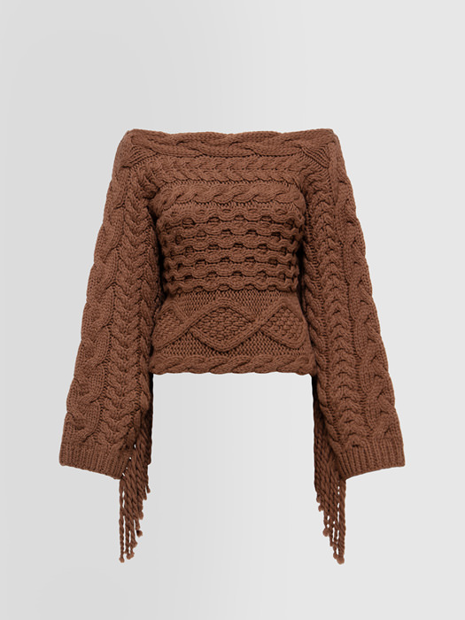 ALPHA STUDIO FRAYED SWEATER IN MIXED WOOL