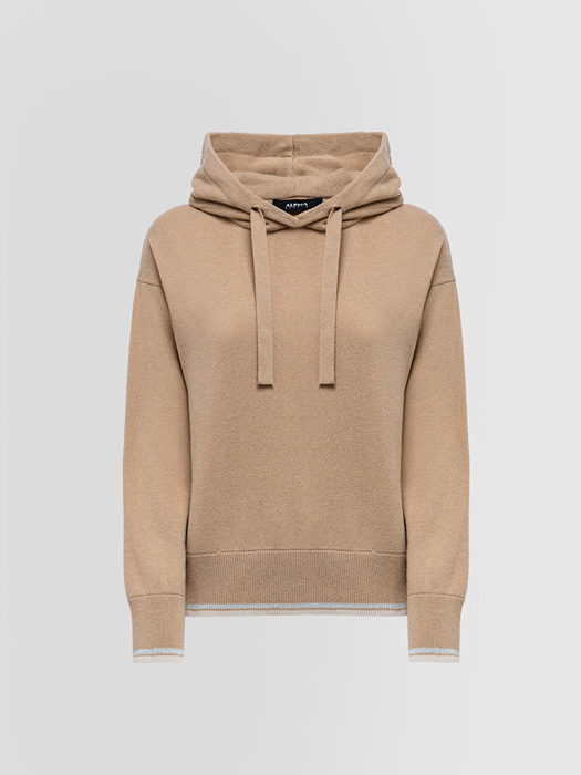 ALPHA STUDIO HOODED SWEATER IN MIXED WOOL