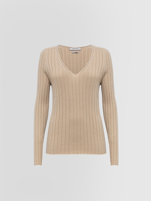 ALPHA STUDIO LUXURY LABEL V-NECK SWEATER IN CASHMERE