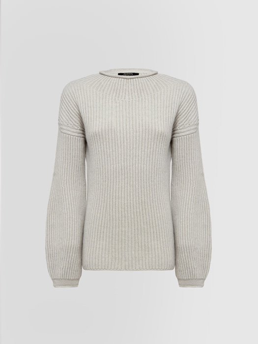 ALPHA STUDIO FISHERMAN'S RIB STITCH HALF-NECK SWEATER