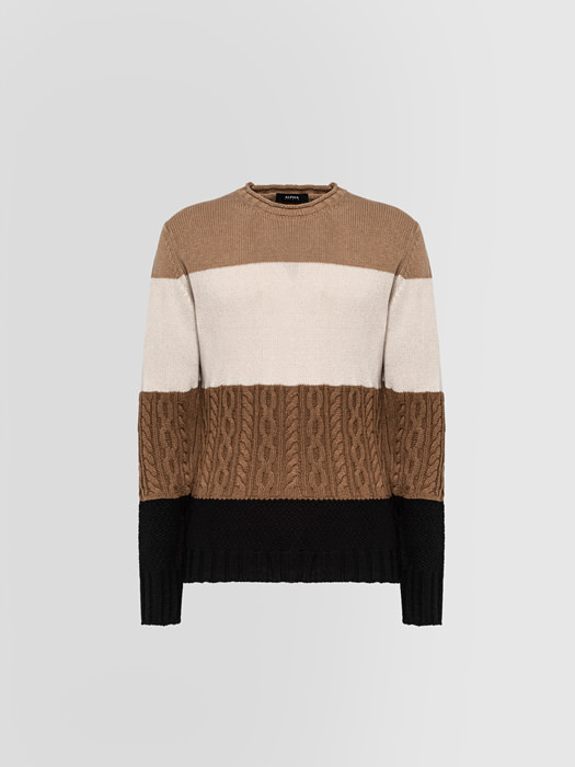 ALPHA STUDIO COLOR-BLOCK PATTERN HALF-NECK SWEATER