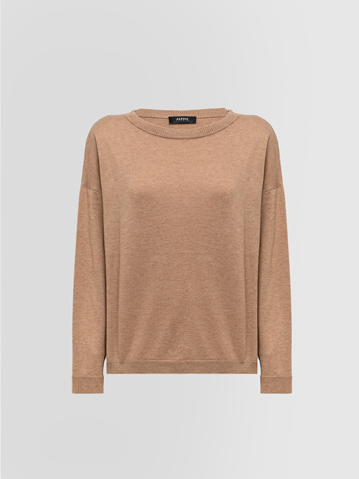 ALPHA STUDIO MID SEASON SWEATER IN COTTON AND WOOL