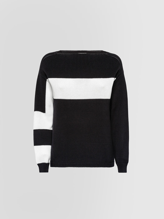ALPHA STUDIO INLAID COLLARLESS SWEATER