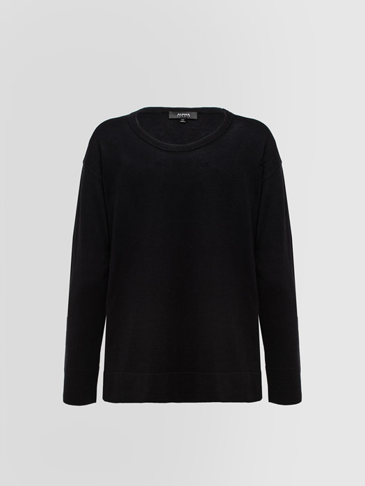 ALPHA STUDIO: LUXURY LABEL BOAT NECK?SWEATER IN SILK AND CASHMERE