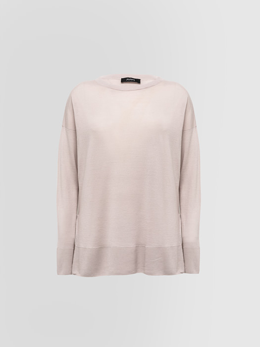 ALPHA STUDIO COLLARLESS SWEATER IN WOOL