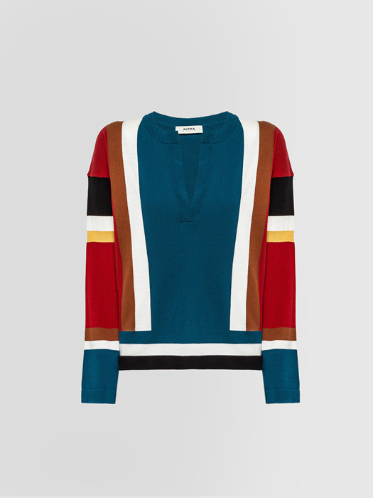 ALPHA STUDIO COLOR-BLOCK GRANDAD NECK SWEATER