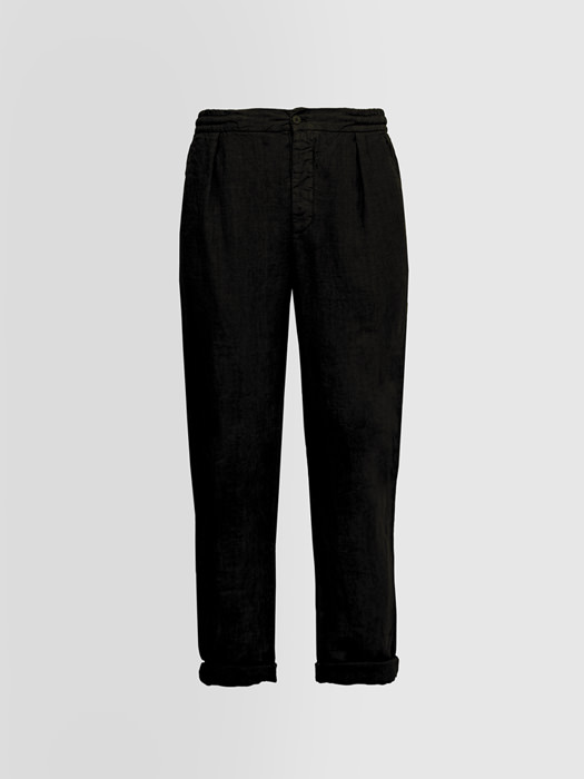 ALPHA STUDIO: PANTS IN SHUTTLE-WOVEN LINEN