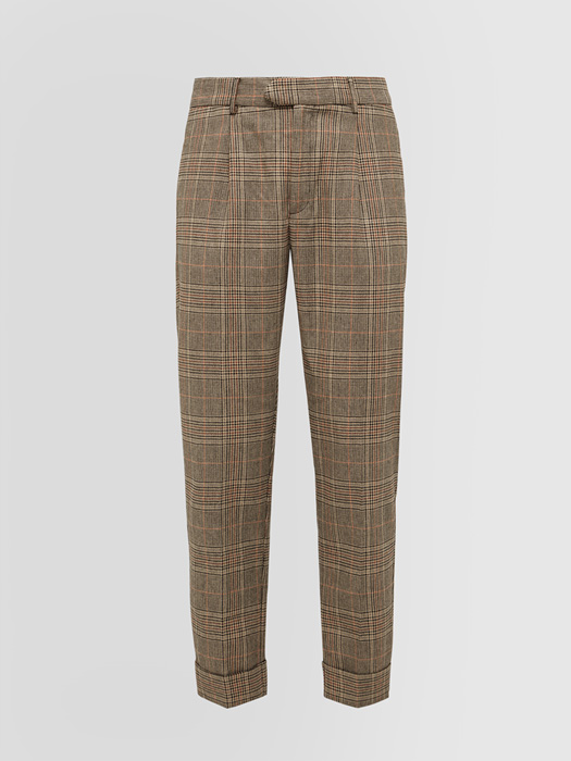 ALPHA STUDIO PRINCE OF WALES PRINT DARTED PANTS