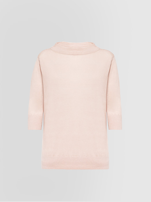 ALPHA STUDIO TIFFANY COLLARLESS SWEATER IN SILK AND CASHMERE
