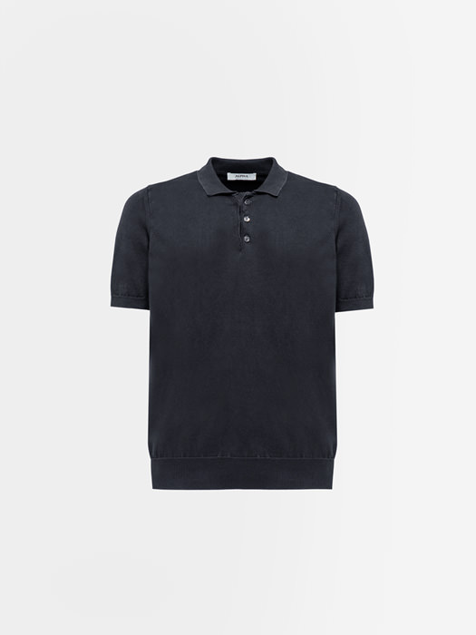 ALPHA STUDIO BASIC POLO SHIRT IN DYED COTTON