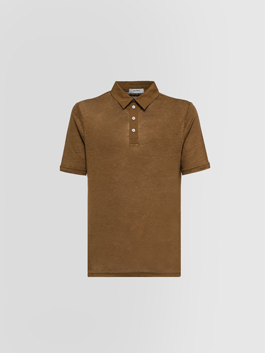 ALPHA STUDIO: POLO SHIRT IN LINEN WITH POPLIN DETAILS